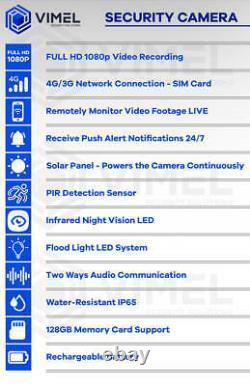 4g Solar Home Caméra De Sécurité Sans Fil Capteur Pir De Nuit Ptz
