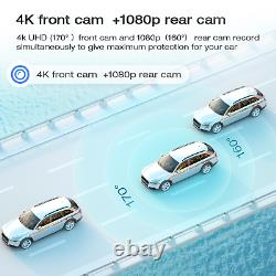 4k Gps 12mirror Dashcam Caméra De Sauvegarde Voiture Dvr Enregistreur Voicecontrol Nightvision