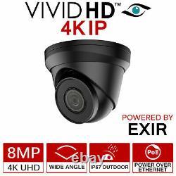 4k Ip Caméra VIVID Hd 8mp Uhd Poe Cctv Dome Turret 30m Ir Extérieur Noir 2,8mm