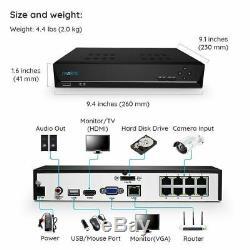4mp Système De Caméra De Sécurité Ip 8ch Poe Nvr 724 Enregistrement Kit Reolink Rlk8-410b4