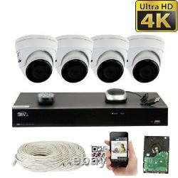8 Canal 4k Nvr (4) 8mp 2160p Waterproof Ip Poe Dome Security Camera System 4to