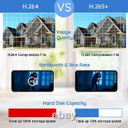 8 Canal H. 265+ 1080p Dvr 2mp Wired Security Camera System Outdoor Day Night