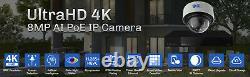 8 Canaux 4k Nvr 4 8mp Poe Ip Ai Couleur Night Vision Dome Système De Caméra De Sécurité