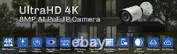8 Channel 4k Nvr 6 X 8mp Poe Ip H. 265+ Système De Caméra De Sécurité Smart Starlight Ai