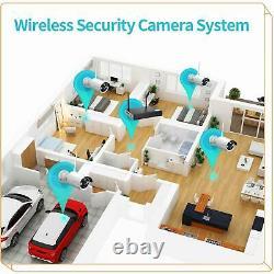 8ch Nvr Sans Fil 1080p Wifi Caméra Audio Cctv Outdoor Home Security System Kit