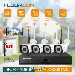 8ch Sans Fil 1080p Nvr Extérieur Accueil Wifi 2mp Système Cctv Caméra De Sécurité Ip + 1 To