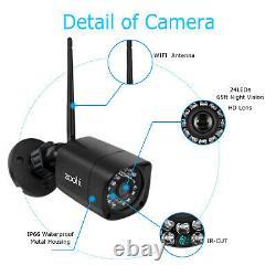 Accueil Cctv 1080p Système De Sécurité Caméra Extérieure Hd Sans Fil Wifi 4ch Nvr Nuit Ir