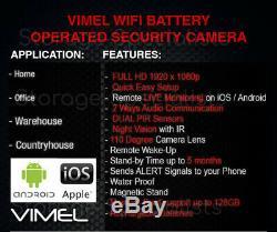 Accueil Sans Fil Caméra De Sécurité 128go Alarme Batterie Longue Operated Pir Wifi Ip