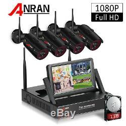 Anran 1080p Accueil Sécurité Système De Caméra Extérieure Sans Fil 1tb Hdd 4ch 7 Moniteur