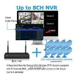Anran Accueil Système De Caméra De Sécurité Sans Fil 8ch 1080p Hdd 1to Wifi Nvr Extérieur Hd
