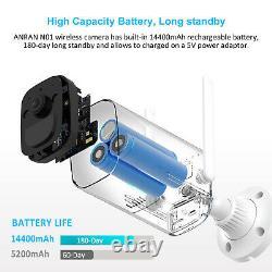 Anran Système De Caméra De Sécurité Batterie Solar Powered 2k Wirefree Home Outdoor Cctv