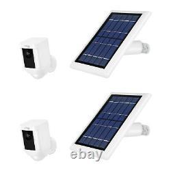 Bague Spotlight Cam Batterie Avec Panneau Solaire Ensemble Caméra Traiter (2 Pack, Blanc)