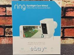 Bague Spotlight Cam Wired Caméra De Sécurité Hd Alimentée Avec Twoway Talk Siren White