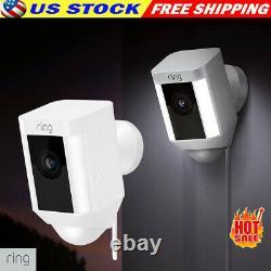 Bague Spotlight Cam Wired Outdoor Caméra De Sécurité Wifi Fonctionne Avec Alexa White