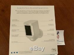 Caméra De Surveillance Anneau De Sécurité Projecteur Cam Solaire Sans Fil Batterie Hd Blanc