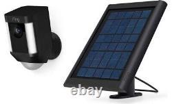 Caméra De Surveillance Anneau De Sécurité Projecteur Cam Solaire Sans Fil Batterie Hd Noir