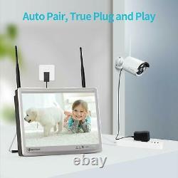Heimvision Hm243 8ch Nvr 1080p Système De Caméras De Sécurité Sans Fil 12 Moniteur LCD