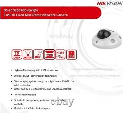 Hikvision Ds-2cd2563g0-iws 6mp Ip Dome Camera Intégré MIC Wdr H. 265+ Poe Wifi