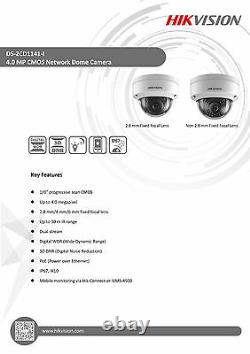 Hikvision Original Anglais Ds-2cd1141-i 4mp Ip Poe Network Dome Camera Objectif 6mm