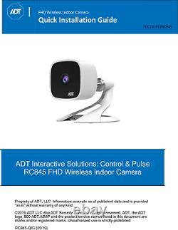 La Nouvelle Caméra Audio Adt Pulse Command Control Indoor 1080p Rc845 Remplace Rc8326