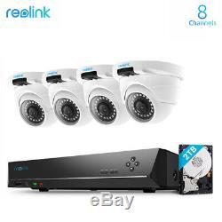 Poe 4mp Système De Caméra De Sécurité 8ch Nvr 2tb Hdd Accueil Surveillance Kit Rlk8-420d4