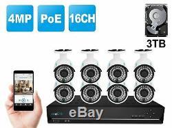 Poe Caméra Ip Système De Sécurité Filaire 4mp 16ch Nvr 3to Hdd 8 X Caméras Rlk16-410b8