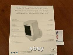 Ring Security Surveillance Camera Spotlight Cam Solar Wireless Battery Hd Blanc