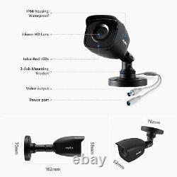 Sannce 8ch 5in1 Dvr 4x 1080p Hd Système De Caméra De Sécurité Extérieur Vision Nocturne Hd
