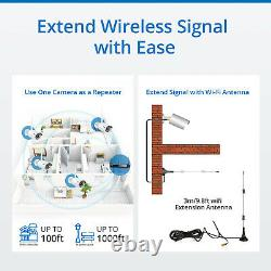Sannce Hd 1080p Caméra Ip Cctv Wi-fi Sans Fil Système 8ch Nvr Home Security Kit Us