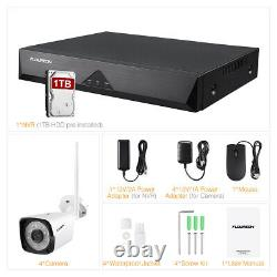 Sans Fil 8ch 1080p Wifi Hdmi Nvr Outdoor Home Cctv Security Camera Kit + 1 To Hdd