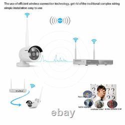 Système De Sécurité Sans Fil Home Office Wifi Cctv Nvr Outdoor Ip 4 Camera Kit 1080p