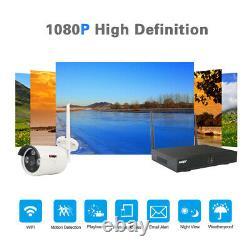 Système Sans Fil De Caméra De Sécurité 4/8ch Hd 1080p 1 To Hdd Cctv Wifi Kit Nvr Outdoor