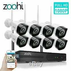 Zoohi 8ch 1080p Système De Caméra De Sécurité Sans Fil Avec Vision Nocturne Hdmi Kits Nvr