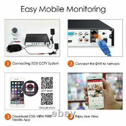 Zosi 1080p Night Vision 8ch Dvr Ir Cctv Outdoor Caméra De Sécurité Wire System