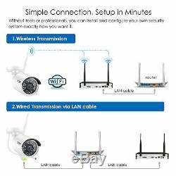 Zosi 2tb Système De Caméra De Sécurité Ip Sans Fil De 8 Canaux Wifi Nvr 2mp Extérieur