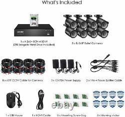 Zosi 4k Cctv Uhd Dvr 2to 8ch System Home Outdoor 8mp Hd Security Camera Kit Ip67