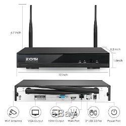 Zosi 8 Canaux H. 265+ 1080p Sans Fil Système De Caméra De Sécurité Ip Extérieure 2tb Hdd