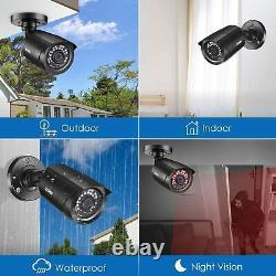 Zosi H. 265+ 4ch 5mp Lite Dvr Outdoor Home Cctv 1080p Système De Caméra De Sécurité