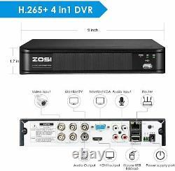 Zosi H. 265+ 5mp Lite Dvr Outdoor Cctv 1080p Système De Surveillance Des Caméras De Sécurité